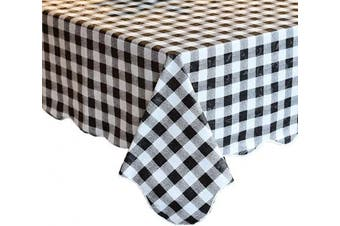 (150cm  X 310cm , Black & White Checkered) - Artisan Flair AF60122-100 Black and White Chequered Tablecloth for Family Dinners Or Gatherings, Indoor or Outdoor Parties-150cm x 310cm