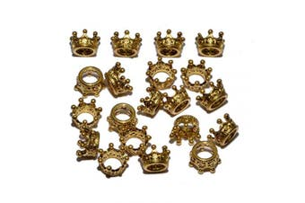 (20 Pcs, Queen Crown (Antique Gold)) - AD Beads Solid Metal King & Queen Crown Big Hole Bracelet Connector Charm Beads (20 Pcs, Queen Crown (Antique Gold))
