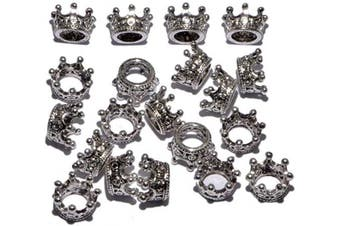 (20 Pcs, Queen Crown (Antique Silver)) - AD Beads Solid Metal King & Queen Crown Big Hole Bracelet Connector Charm Beads (20 Pcs, Queen Crown (Antique Silver))