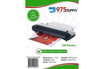 (100 Sheets) - 975 Supply 3 Mil Clear Letter Size Thermal Laminating Pouches, 23cm X 29cm , 100 Sheets