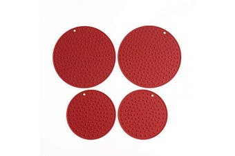 (Solid-2XL+2L:Merlot Red) - Extra Large, Extra Thick Silicone Trivet Mat Set For Hot Dishes,Pots and Pans, Kitchen Hot Pads for Countertop and Table, Silicone Pot Holders, 2 Extra Large and 2 Regular Sizes S/4 (Merlot Red)