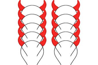 Blulu Halloween Headband Devil Horns Head Bands Hair Decorative Hoop Accessories for Themed Party Costume Decorations, Red Horns (10 Pieces)