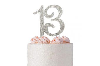 (13 Silver) - 13 Rhinestone Birthday Cake Topper | Premium Sparkly Crystal Diamond Bling Gems | 13th Birthday or Anniversary Party Decoration Ideas | Quality Metal Alloy | Perfect Keepsake (13 Silver)