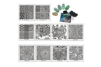 Finger Angel 10Pcs Stamping Nail Art Plate With Plastic White Holder Nail Plate + 1 Pcs Square Green Rubber Stamper DIY Nail Art Image Stamp Plates Manicure Template Nail Art Tools