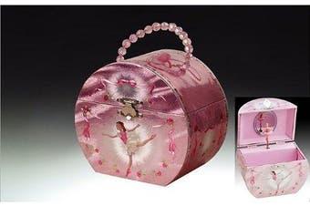Ballerina Handbag Music Jewellery Box - Silver & Pink
