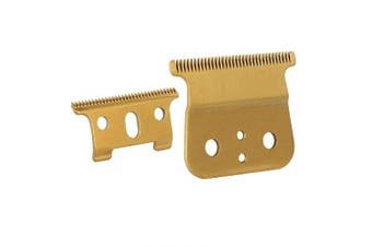 (Gold T blade + Gold steel blade) - Professional Gold T Outliner Replacement Beard, Double Gold wide Timmer Blades for Andis T-Outliner Replacement andis gtx replacement T-Blade (Gold T blade + Gold steel blade)