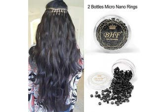 (2 Bottles, Black Color) - 200Pcs Beads Silicone Aluminium Micro Nano Rings 3mm Lined For I Tip/Nano Hair Extensions Tool Beads (2 Bottles, Black Colour)