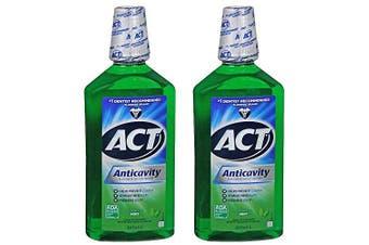ACT Fresh Mint Anticavity Fluoride Mouthwash, 2 ct.1000ml