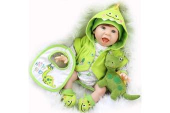 Aori Reborn Baby Doll 60cm Handmade Realistic Laughing Baby Doll with Green Dinosaur Set for Girls Children