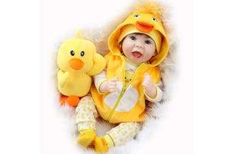 Aori Lifelike Realistic Reborn Baby Dolls 60cm Weighted Reborn Girl Doll with Yellow Clothes and Duck Toy Accessories Best Birthday Set for Girls Age 3