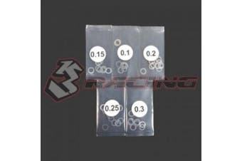 Stainless Steel 4mm Shim Spacer 0.1/0.15/0.2/0.25/ . mm Thickness 10pcs Each / 3Racing / 3RAC-SW04/V2