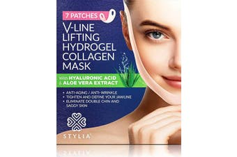 7 Piece V Line Shaping Face Masks – Lifting Hydrogel Collagen with Aloe Vera – Anti-Ageing and Anti-Wrinkle Band - Double Chin Reducer Strap - Contouring, Slimming and Firming Face Lift Sheet