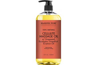 (Single Pack) - Majestic Pure Natural Cellulite Massage Oil, Unique Blend of Massage Essential Oils - Improves Skin Firmness, More Effective Than Cellulite Cream, 240ml