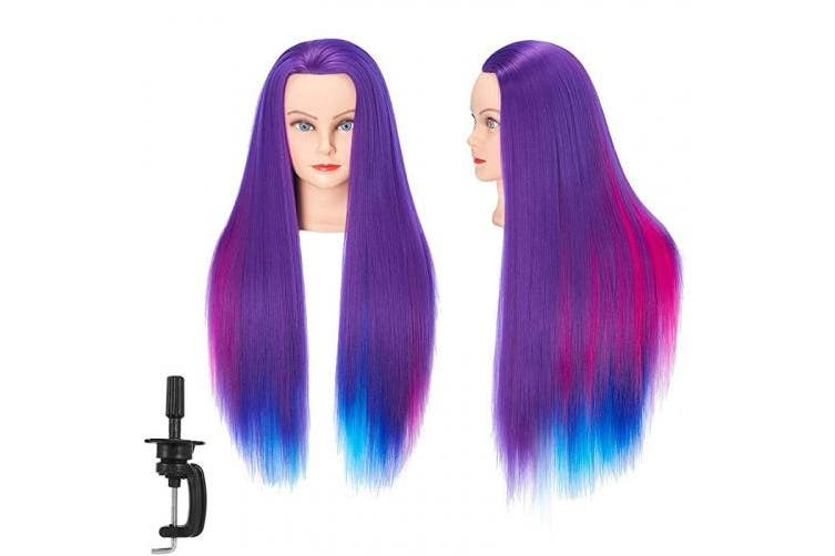Mannequin Head 70cm - 70cm Super Long Synthetic Fibre Hair Manikin Head Styling Hairdresser Training Head Cosmetology Doll Head for Cutting Braiding Practise with Clamp 92018WP0320
