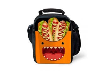 (Hot Dog) - THOME Lovely Hot Dog Print Lunch Bags Children Food & Sandwich Box with Adjustable Strap and Bottle Holder Cool Lunch Box