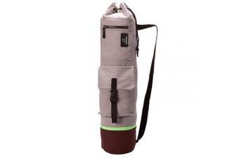 (One Size, gray) - FODOKO Yoga Mat Tote Bag, Gym Bag Sling Carrier Canvas with Deep Front Pocket Zipper, Secret Storage, Adjustable Shoulder Strap