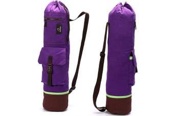 (One Size, purple) - FODOKO Yoga Mat Tote Bag, Gym Bag Sling Carrier Canvas with Deep Front Pocket Zipper, Secret Storage, Adjustable Shoulder Strap