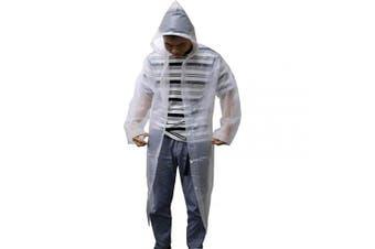 Rain Coats for Women, Womens' Rain Coats Rain Jacket Portable Thicken Rainwear Hood,Reusable Rain Ponchos with Hoods and Sleeves Lightweight Raincoats(White)