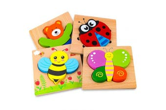 Afufu Wooden Jigsaw Puzzles for Toddlers 1 . Old, Boys & Girls Educational Toys Gift with 4 Animals Patterns, Bright Vibrant Colour Shapes of Animal