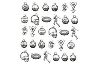 (Style 1#) - 30pcs Ball Games Sports Charm,Basketball Football Volleyball Baseball Rugby Soccer Charms Pendents for DIY Bracelet Necklace Earring Jewellery Making Findings