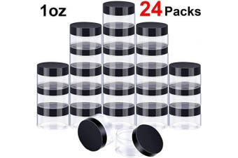 (30ml, Black Lid) - 24 Pieces Clear Plastic Round Storage Jars Wide-Mouth Plastic Containers Jars with Lids for Storage Liquid and Solid Products (Black Lid, 30ml)
