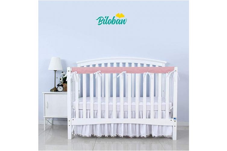 Crib Rail Cover Protector Safe Teething Guard Wrap for Long Front Crib Rails, Pink/White, Safe and Secure Crib Cover.
