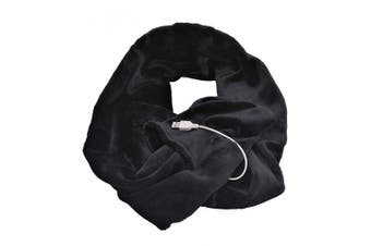 (Black) - 77Mall USB Heated Scarf Heating Pad for Neck Warmer Cold Relief Outdoor Indoor Hiking Walking