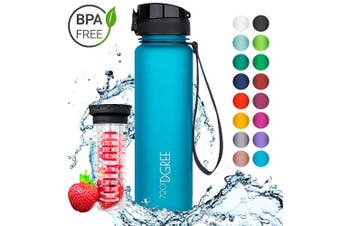 "(1000ml, 02 Sky Blue | Softtouch) - 720°DGREE Water Bottle ""uberBottle"" +Fruit-Infuser - 350ml, 500ml, 650ml, 1L - BPA-Free Tritan, Leakproof, Reusable - Sports, Drinking Bottle for Gym, Fitness, Kids, Fitness, Cycling, School & Office"