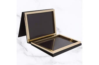 (Black) - Matte Black Double Sided Empty Magnetic Palette with Mirror; Holds 70 Standard Sized Eyeshadows