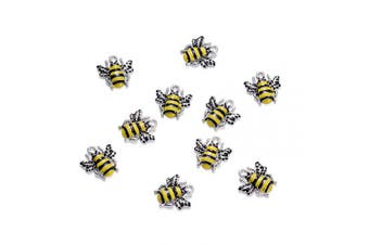 (Bees) - Craftdady 10Pcs Alloy Enamel Bee Charms 18x17mm DIY Jewellery Necklace Earring Bracelet Craft Making Animal Pendants with 2mm Hole