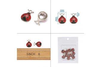 (Ladybug) - Craftdady 10Pcs Enamel Ladybug Pendants 18.5x12.5mm Metal Flying Insect Animal Charms for Jewellery Making Hole: 2mm Lead Free Cadmium Free