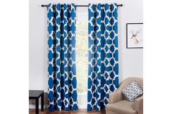 (54x96 Drop 2 Panels, Teal) - Topfinel Teal Blackout Curtain Eyelet Thermal Insulated 96 Drop 2 Panels Quatrefoil Print Window Treatment 54x96 Inch Drop 140cmx245cm for Living Room Bedroom