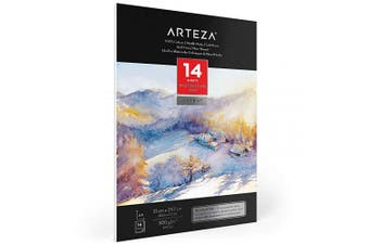 Arteza Watercolour Pad A4, 14 Sheets (60kg/300gsm), 100% Cotton, Double-Sided, Cold-Pressed, Acid-Free Paper, Ideal for Watercolour Techniques and Mixed Media