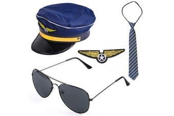 (C) - Beelittle Airline Pilot Captain Costume Kit Pilot Dress up Accessory Set with Aviator Sunglasses (C)