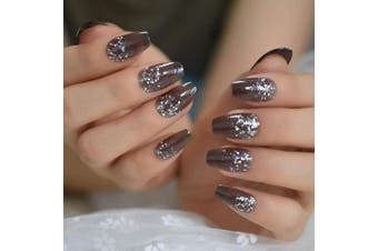 (L5229) - CoolNail Holographic Glitter Scale French Ballerina Coffin False Nails Clear Grey Flat Fake Nails one Free Adhesive Tape Wear Nail Art
