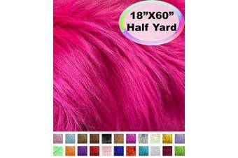 (Half Yard, Fuchsia) - Barcelonetta | Half Yard Faux Fur | 46cm X 150cm Inch | Craft Supply, Costume, Decoration (Fuchsia)
