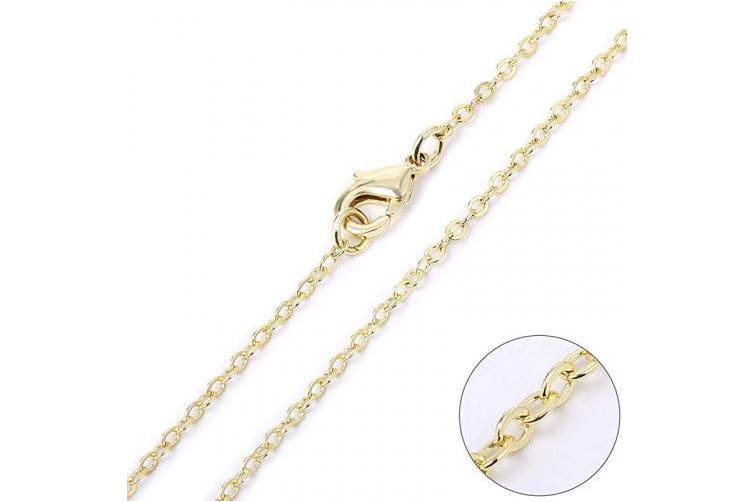(26 Inch(2 MM)) - Wholesale 12 PCS Gold Plated Brass Flat Cable Chain Finished Necklace Chains Bulk for Necklace Making (26 Inch(2 MM))