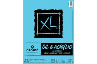 (28cm  x 36cm ) - Canson XL Series Oil and Acrylic Paper Pad, Bleed Proof Canvas Like Texture, Fold Over, 60kg, 28cm x 36cm , White, 24 Sheets