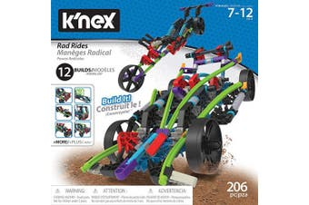 K'Nex 15214 Rad Rides Set-206 Parts-12 Models-Ages 7 and up-Creative Building Construction Toy, Multicolour
