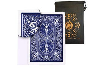 (Blue) - Ultimate Marked Deck - Bicycle Rider Back Cards with Cascade Card Bag (Blue)