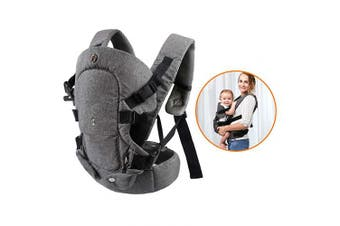 (Grey) - caiyuangg Baby Convertible Carrier, All Carry Position Newborn to Toddlers Ergonomic Carrier with Soft Breathable Air Mesh and All Adjustable Buckles
