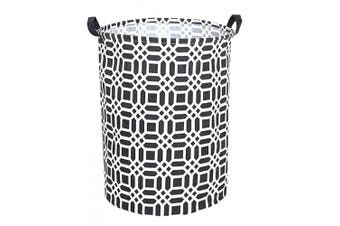 (Black) - Sanjiaofen 50cm Large Laundry Hamper Bucket Waterproof Coating Storage Bin Collapsible Washing Basket Home Nursery Toy Organiser,Canvas Storage Basket with Stylish Design(Black)