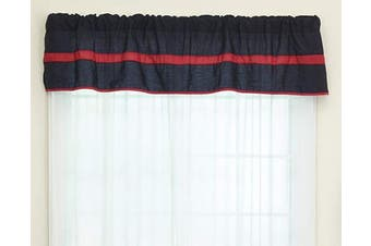 (Red/Navy) - Baby Doll Bedding Solid Stripe Window Valance, Red/Navy