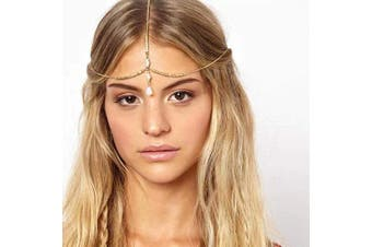 Asooll Gold Boho Crystal Predant Head Chain Gold Beads Head Accessories Fashion Jewellery Festival Headpieces Prom Headband for Women and Girls
