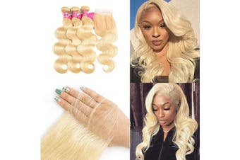 (12 14 16 + 10, 613 Blonde) - 613 Bundles with Closure Blonde 3 Bundles with Closure Brazilian Body Wave Human Hair Bundles with Baby Hair Human Hair Weave with Lace Closure (12 14 16 + 10, 613 Blonde)