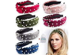 EAONE Pearl Knot Headbands 6 Colours, Knotted Headbands for Women Fashion Turban Headband Hair Bands Wide Headbands Accessories for Girls with 1 Pouch Bag