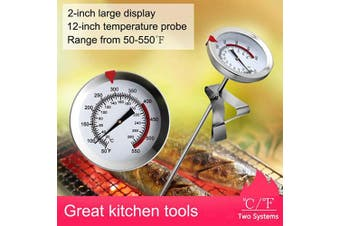 (30cm ) - 30cm Mechanical Meat Thermometer Instant Read, Long Stem, Waterproof, No Battery Required, Stainless Steel Deep Fry Thermometer for Turkey, BBQ, Grill