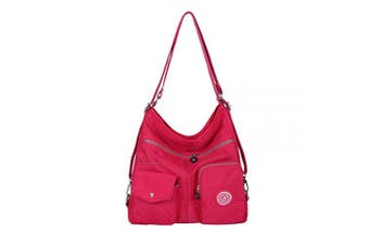 (Rosered) - NOTAG Women Nylon Crossbody Bag, Waterproof Multi-Pocket Shoulder Bag 3 Ways Carrying Large Capacity Handbag