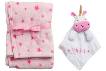 "(80cm  x 100cm , White/Pink Unicorn) - 'Duck Duck Goose Baby Boys & Girls 2-Piece Flannel Fleece Plush Blanket with Snuggle Buddy Toy, White/Pink Unicorn, Size 30"" x 40\""'"