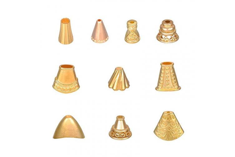 (10 Styles, Golden-60pcs) - PH PandaHall 60 pcs 10 Styles Alloy Bead Caps Spacer Beads for Bracelet Earring Necklace Jewellery DIY Craft Making, Golden